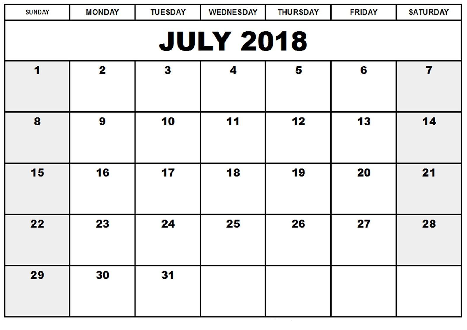Free Printable Calendar July 2018