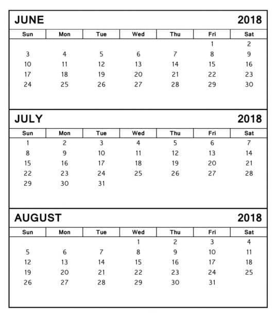 July August 2018 Calendar Templates