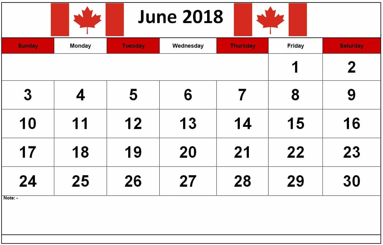 June 2018 Calendar Canada