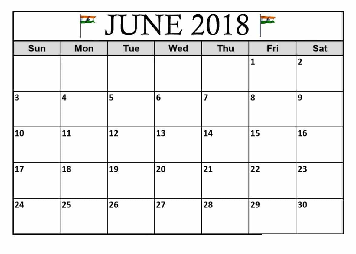 June 2018 Calendar India