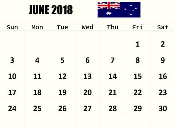June 2018 Calendar Uk