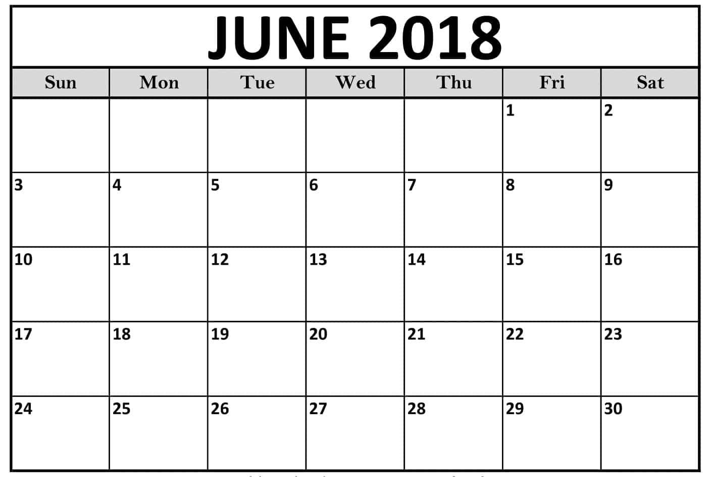 June Calendar For 2018
