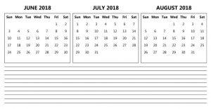 June July August 2018 Calendar