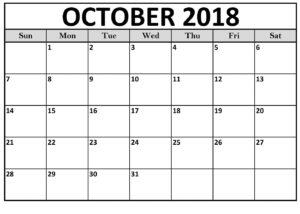 October 2018 Calendar Templates