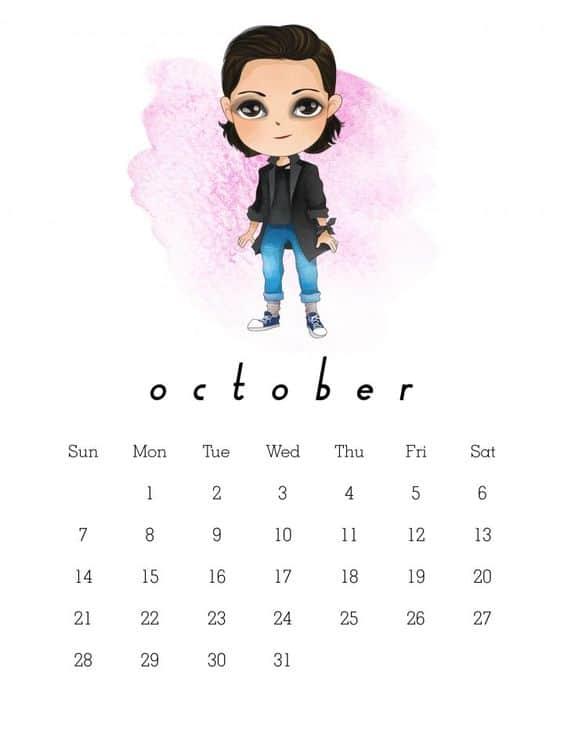 October 2018 Calendar Printable
