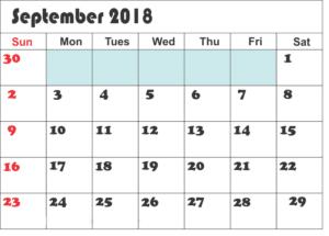 Printable September 2018 Calendar