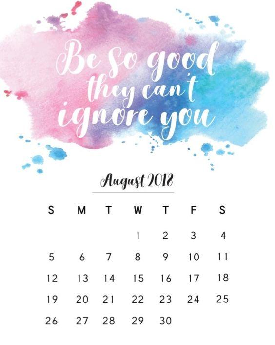 Blank Printable Calendar August 2018