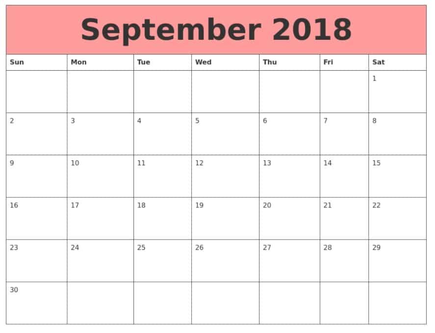 September 2018 Calendar Printable