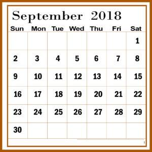 September 2018 Calendar Template