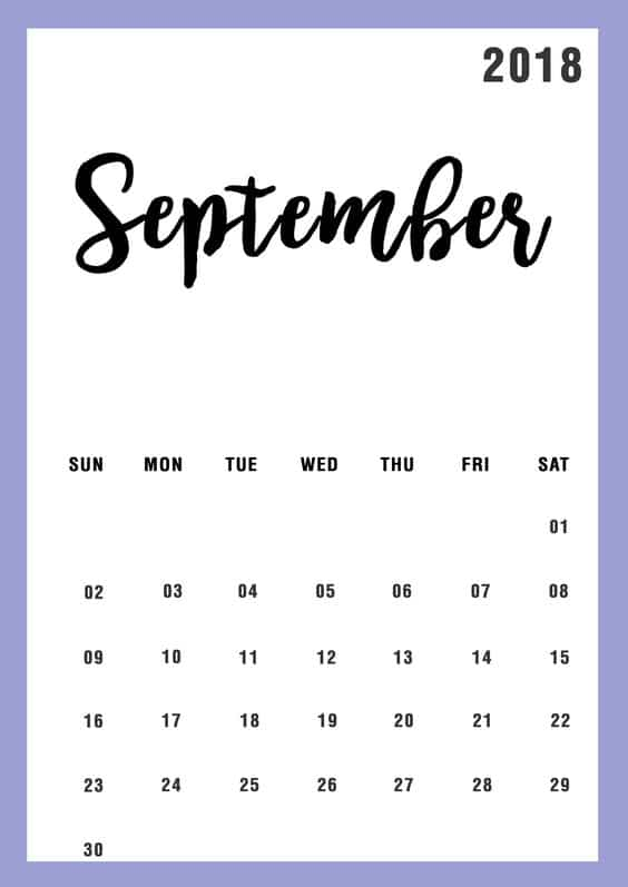 September 2018 Calendar With Holidays