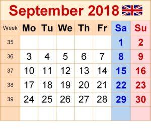September 2018 Calendar With Holidays