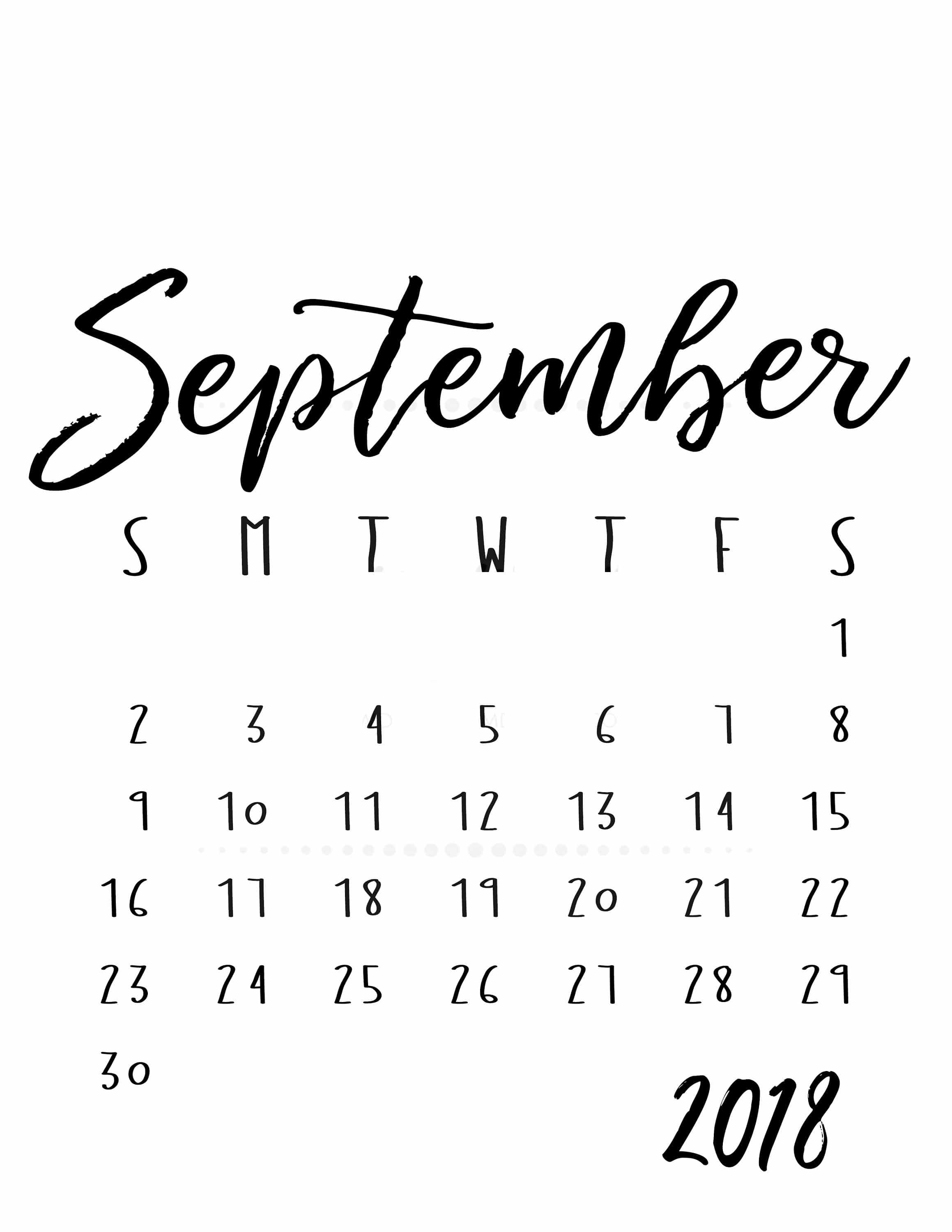 September 2018 Printable Calendar Desk Template Free Hd