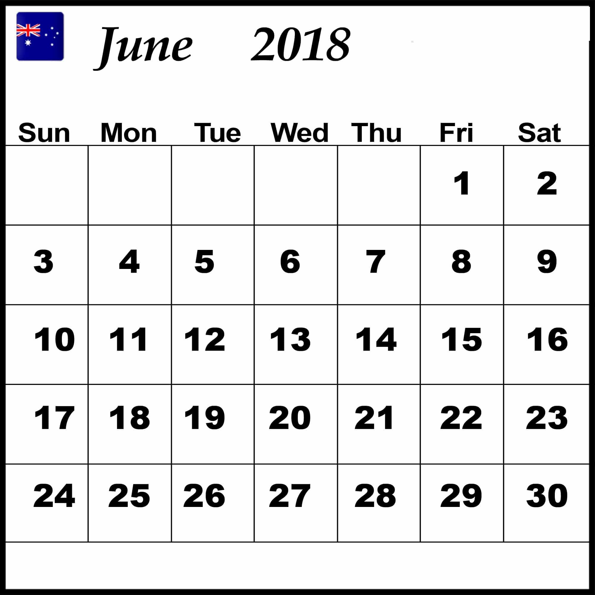 June 2018 Calendar Australia