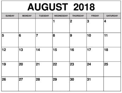 August 2018 Monthly Calendar