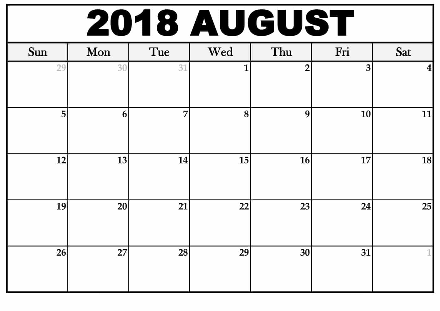 August Calendar 2018 Template Desk Free Hd Images