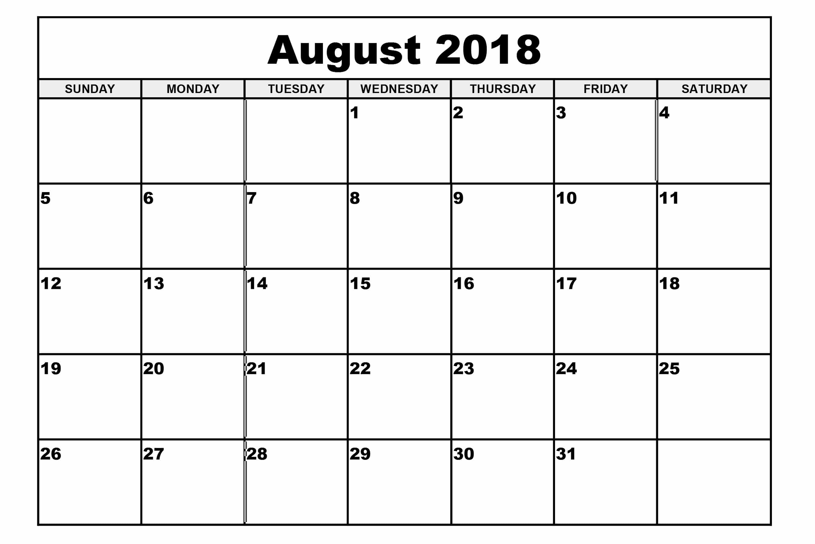 August Calendar 2018 Printable With Holidays - Free HD Images