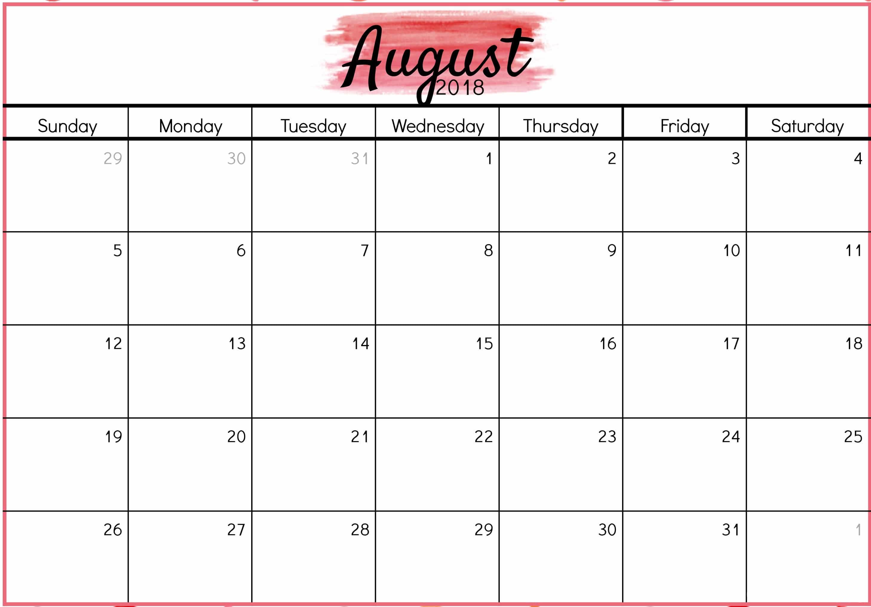 August Calendar 2018 Printable