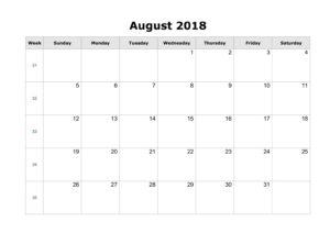 Blank Calendar August 2018