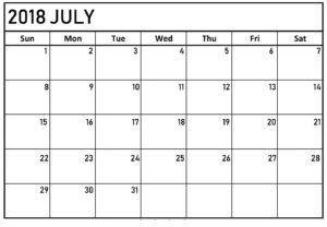 Calendar For July 2018