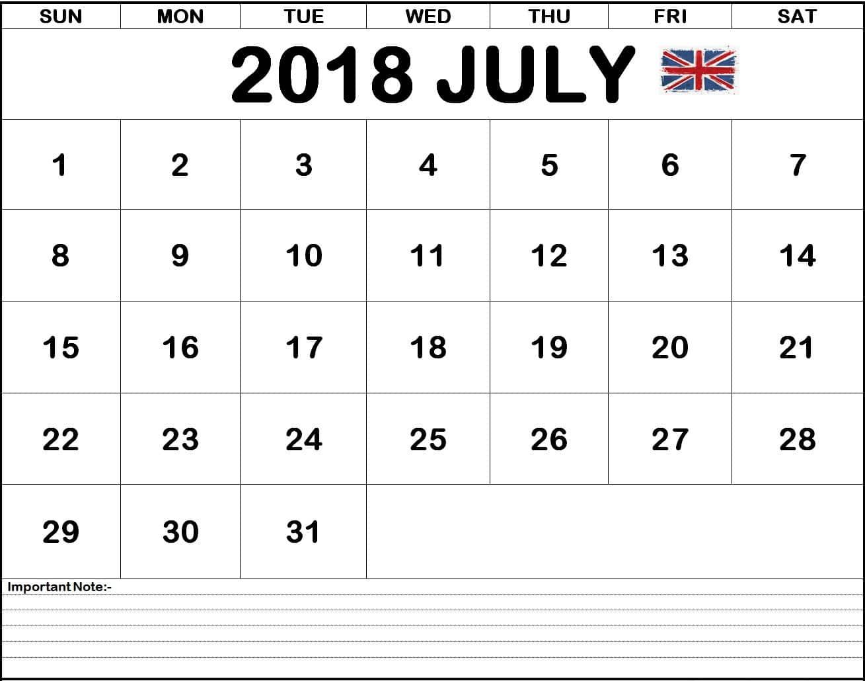 July 2018 Calendar UK