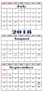 July August September 2018 Calendar