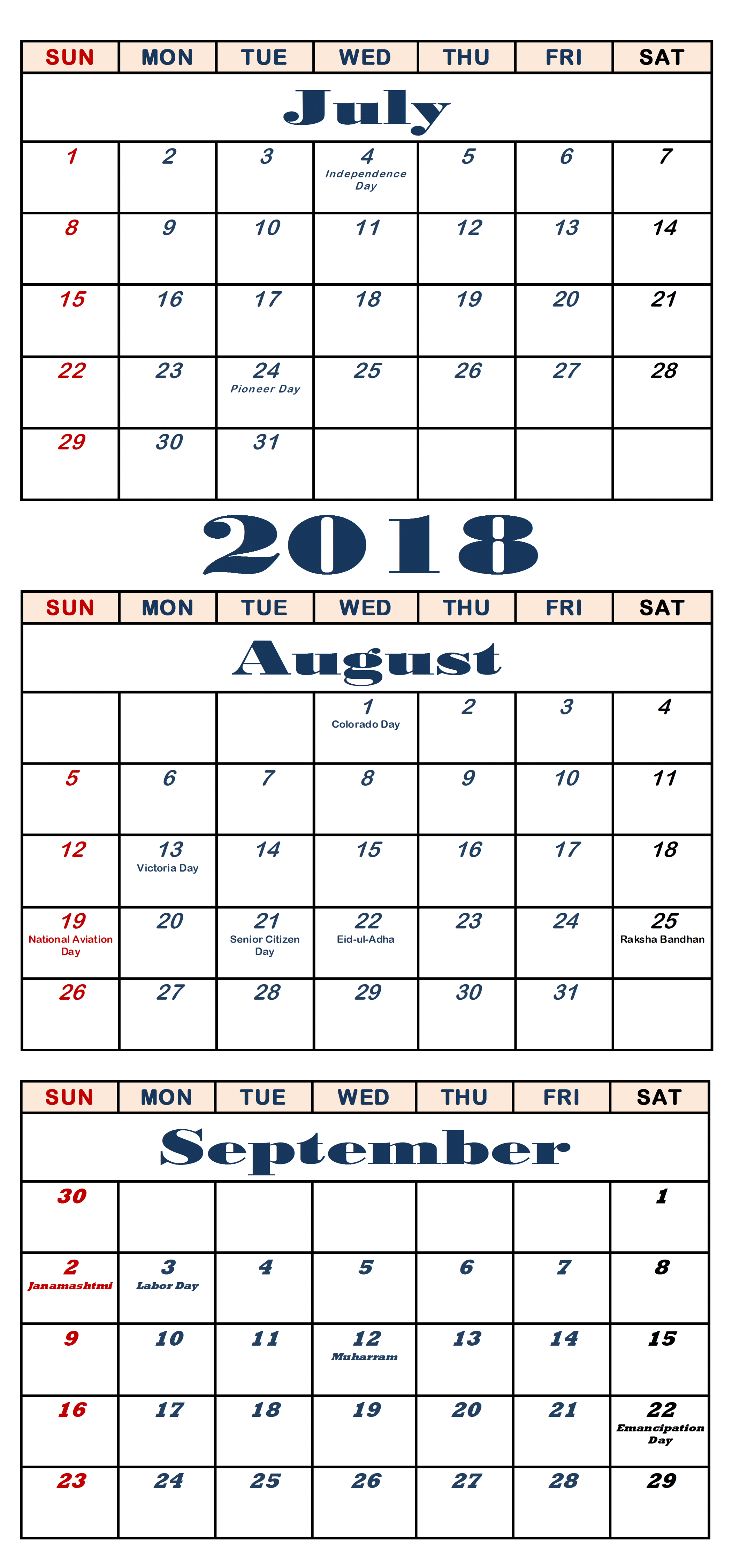 July August September 2018 Calendar Large Format – Quote