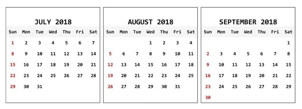 July August September 2018 Calendar With Reviews – Quote