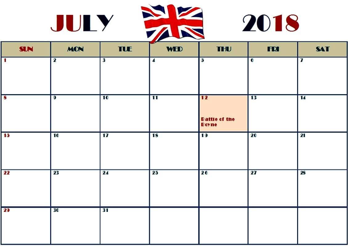 July Month Calendar 2018
