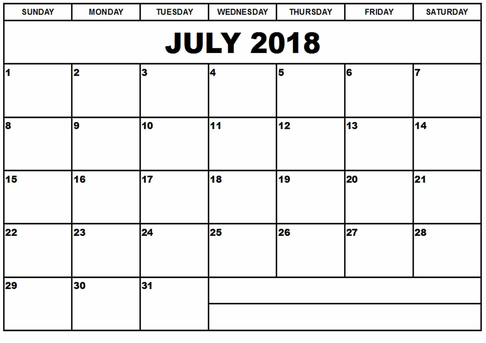 Print July 2018 Calendar