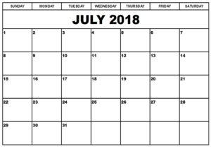 July Calendar For 2018