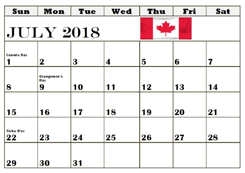 July 2018 Calendar Canada