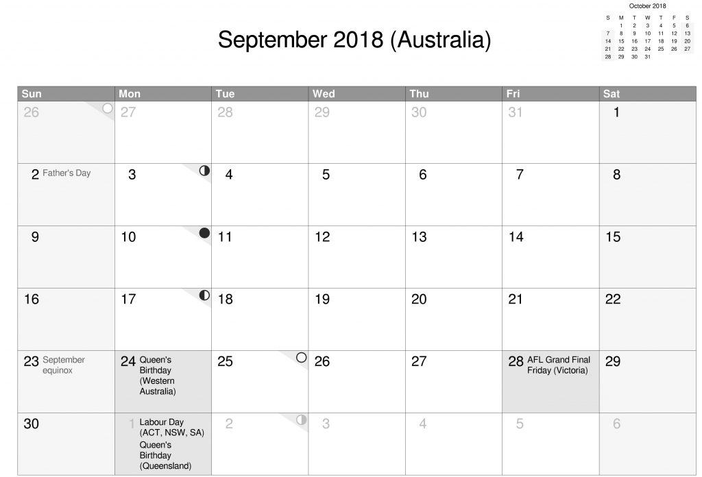 Australia September Calendar 2018 gray With Holidays