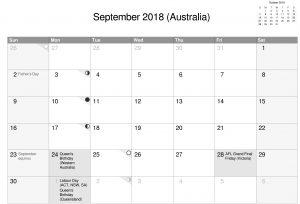 Australia September Calendar 2018 gray With Holidays