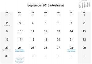 Download Australia September Calendar 2018 HD