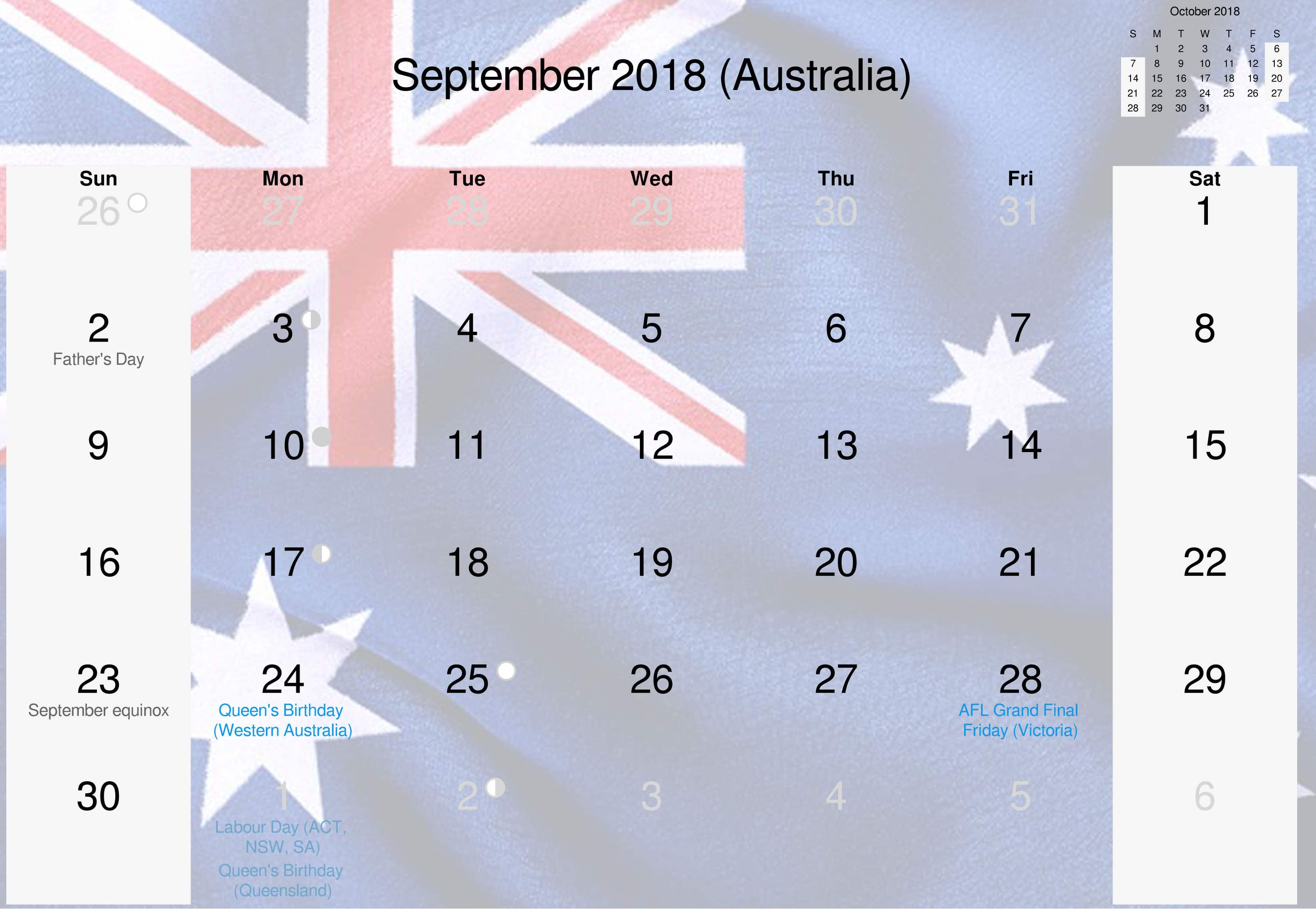 Download Free Printable 2018 September Calendar Australia Holidays