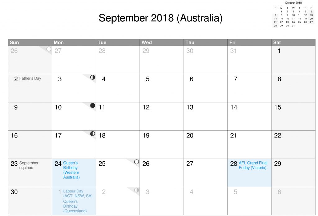 September Calendar 2018 Printable With Holidays