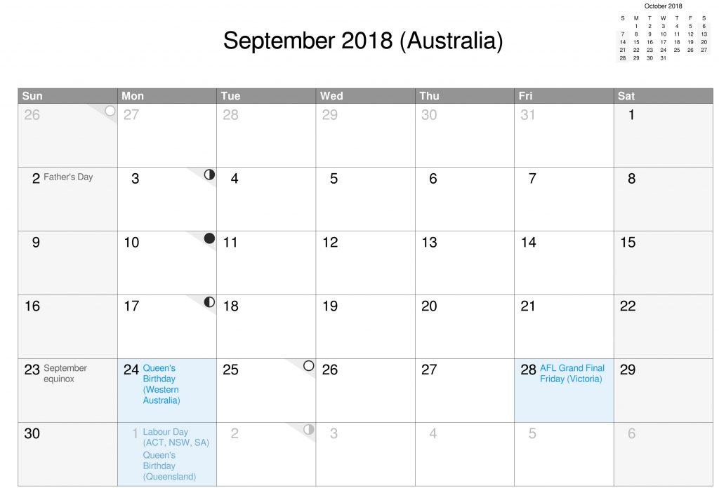 September Calendar 2018 Printable With Holidays