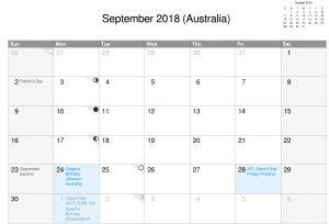 Download Free Printable 2018 September Calendar Australia With Holidays