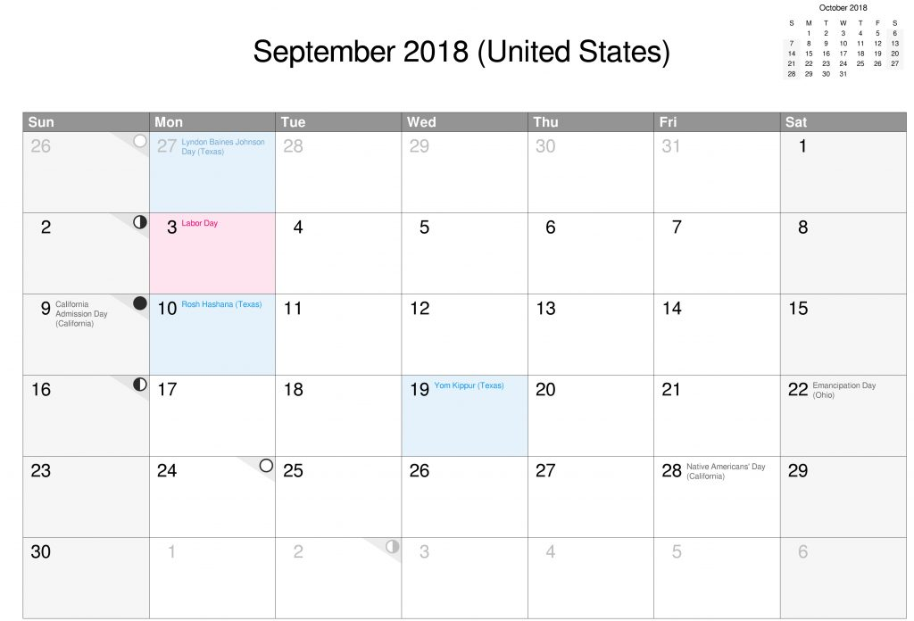 Download Free Printable 2018 September Calendar United States With Holidays