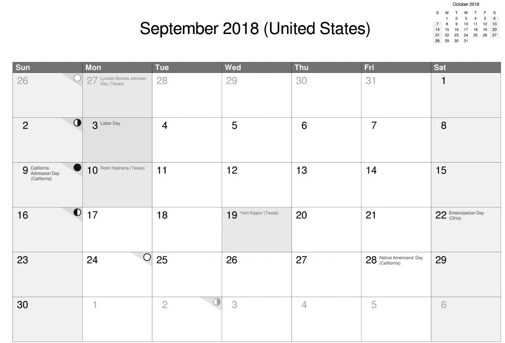 Download Free Printable 2018 September Calendar United States With Holidays wallpaper