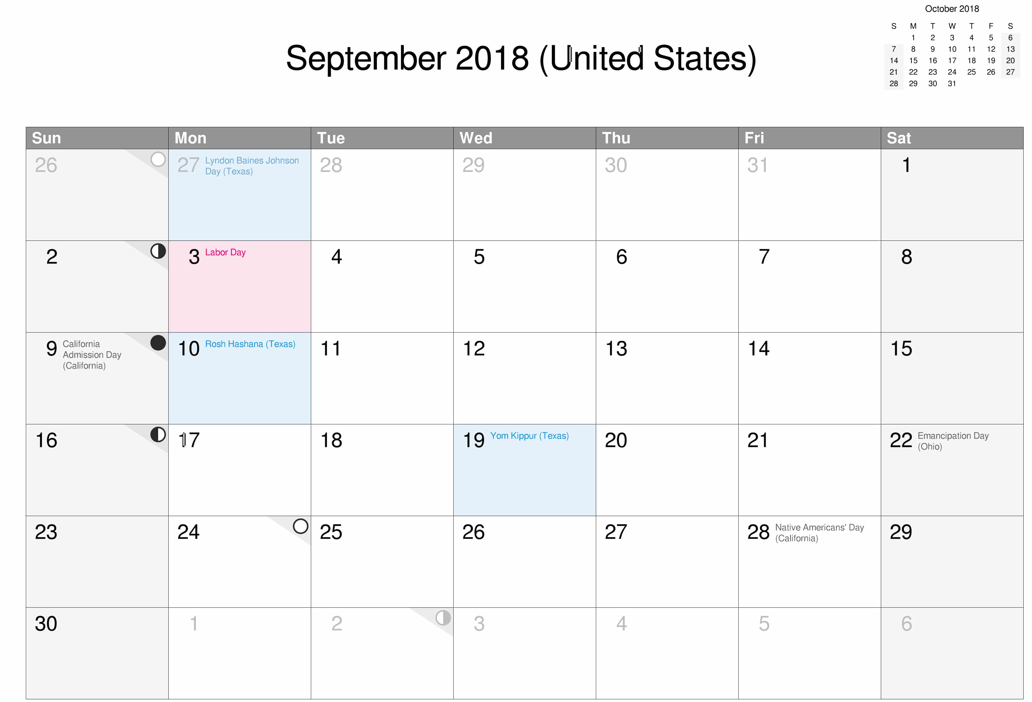 United States September Calendar 2018 With Holidays