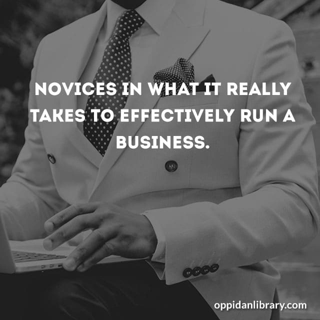 NOVICES IN WHAT REALLY TAKE S TO EFFECTIVELY RUN A BUSINESS.