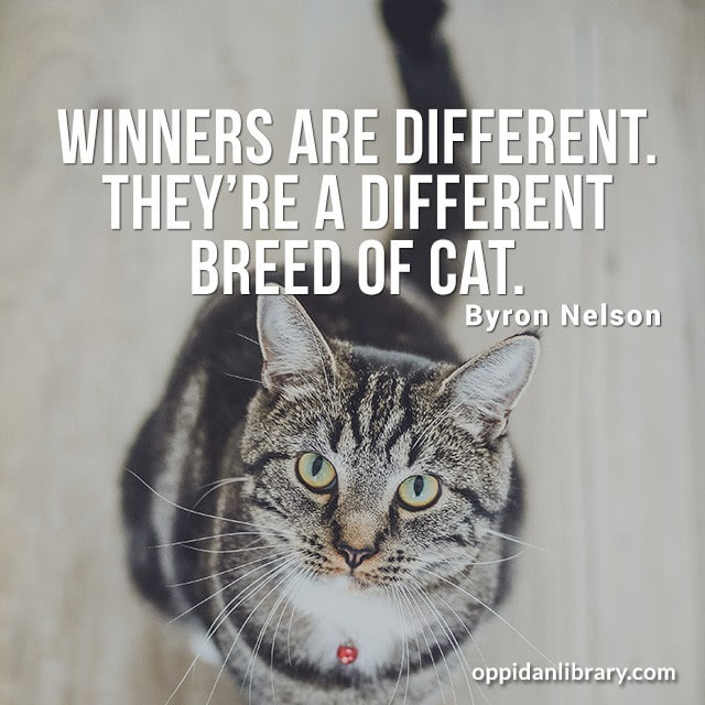 WINNERS ARE DIFFERENT. THEY'RE A DIFFERENT BREED OF CAT. BYRON NELSON