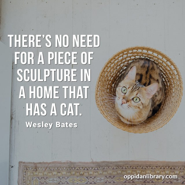 THERE'S NO NEED FOR A PIECE OF SCULPTURE IN A HOME THAT HAS A CAT. WESLEY BATES