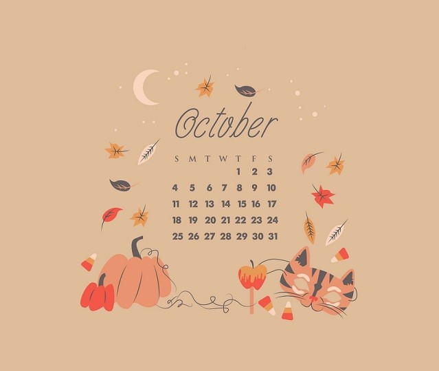 Click on Designer desktop wallpaper for October 2018 Calendar Pdf Printable Template