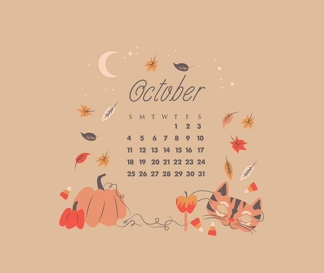 Click on Designer desktop wallpaper for October 2018 Calendar Pdf Printable Template