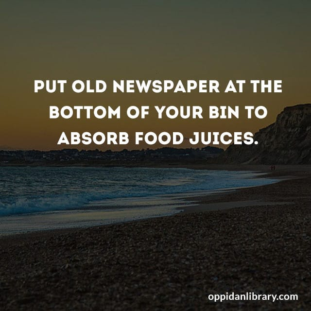 PUT OLD NEWSPAPER AT THE BOTTOM OF YOUR BIN TO ABSORB FOOD JUICES.