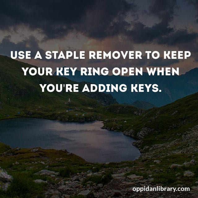 USE A STAPLE REMOVER TO KEEP YOUR KEY RING OPEN WHEN YOU'RE ADDING KEYS.