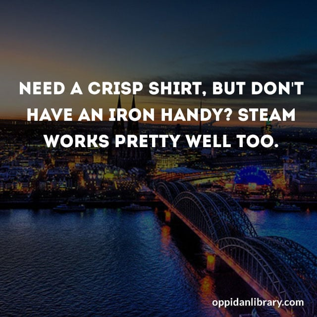 NEED A CRISP SHIRT, BUT DON'T HAVE AN IRON HANDY? STEAM WORKS PRETTY WELL TOO.