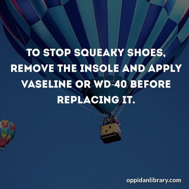 TO STOP SQUEAKY SHOES REMOVE THE INSOLE AND APPLY VASELINE OR WD -40 BEFORE REPLACING IT.